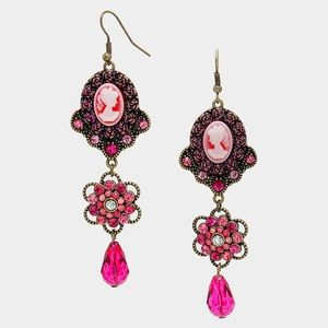 Floral Crystal Dangle Cameo Earrings....Fuchsia